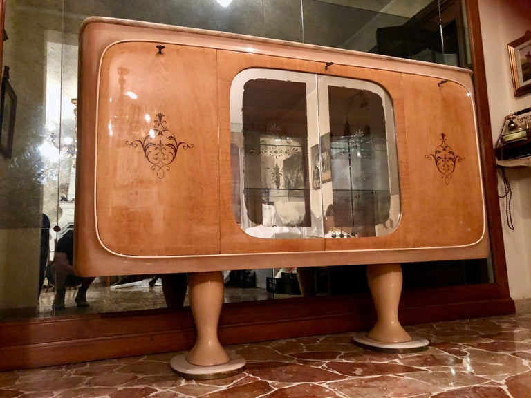 Italian Midcentury Birch Sideboard Cabinet Bar by Marelli & Colico, 1950s In Fair Condition For Sale In Traversetolo, IT