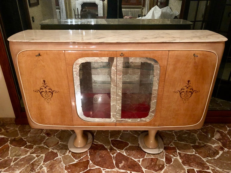 Mid-20th Century Italian Midcentury Birch Sideboard Cabinet Bar by Marelli & Colico, 1950s For Sale