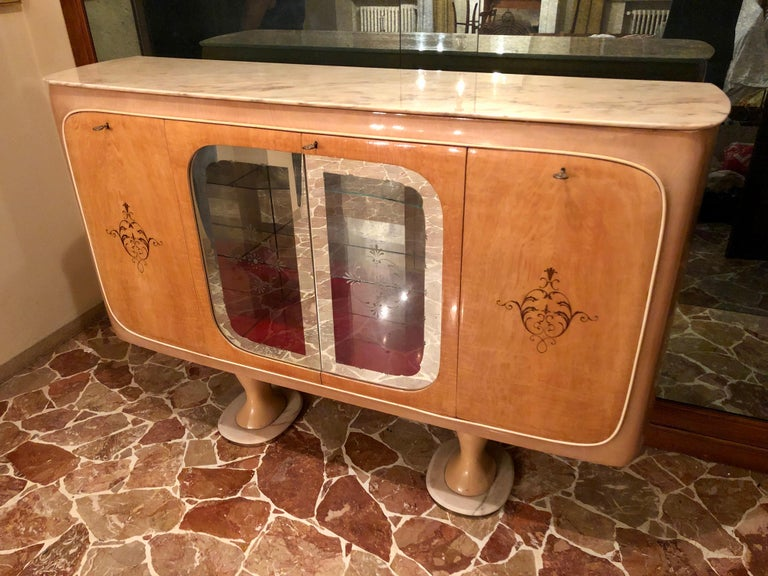 Italian Midcentury Birch Sideboard Cabinet Bar by Marelli & Colico, 1950s For Sale 1