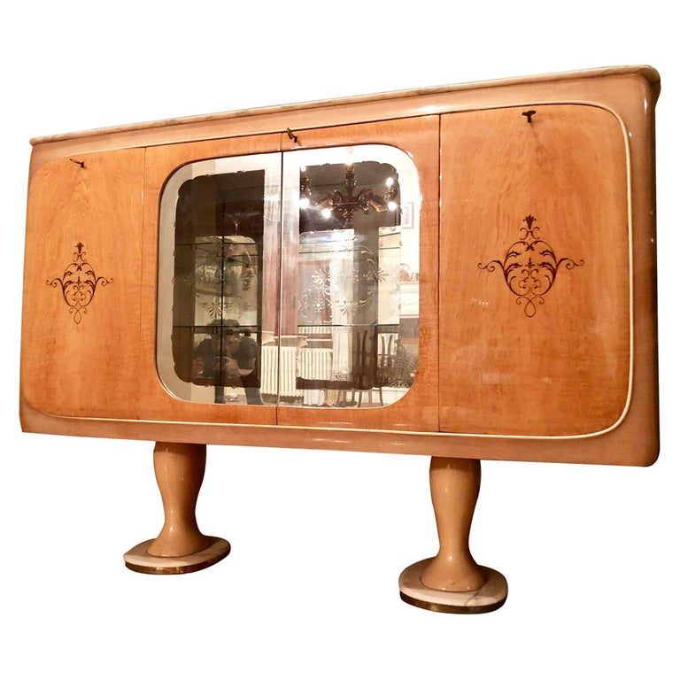 Italian Midcentury Birch Sideboard Cabinet Bar by Marelli & Colico, 1950s For Sale