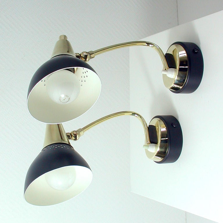 Italian Midcentury Black and Brass Sputnik Sconces Wall Lights, 1950s For Sale 4