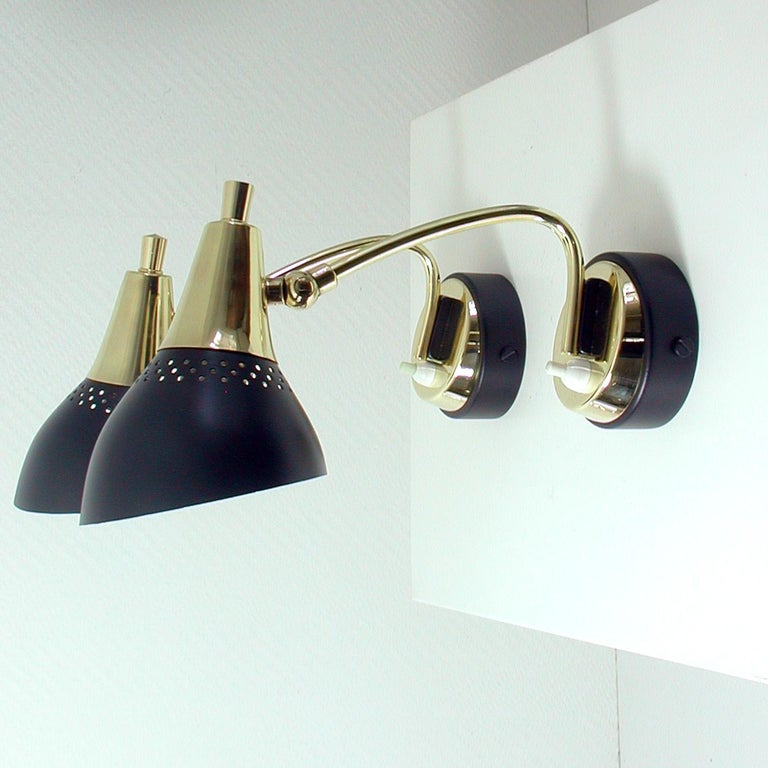 Italian Midcentury Black and Brass Sputnik Sconces Wall Lights, 1950s For Sale 6