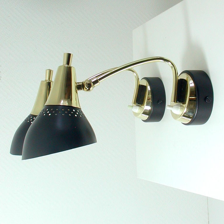 Mid-Century Modern Italian Midcentury Black and Brass Sputnik Sconces Wall Lights, 1950s For Sale