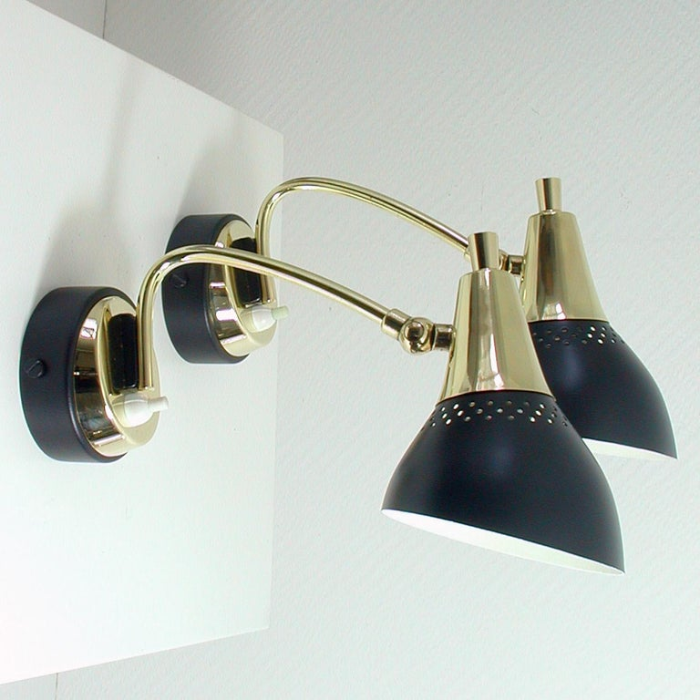 Lacquered Italian Midcentury Black and Brass Sputnik Sconces Wall Lights, 1950s For Sale