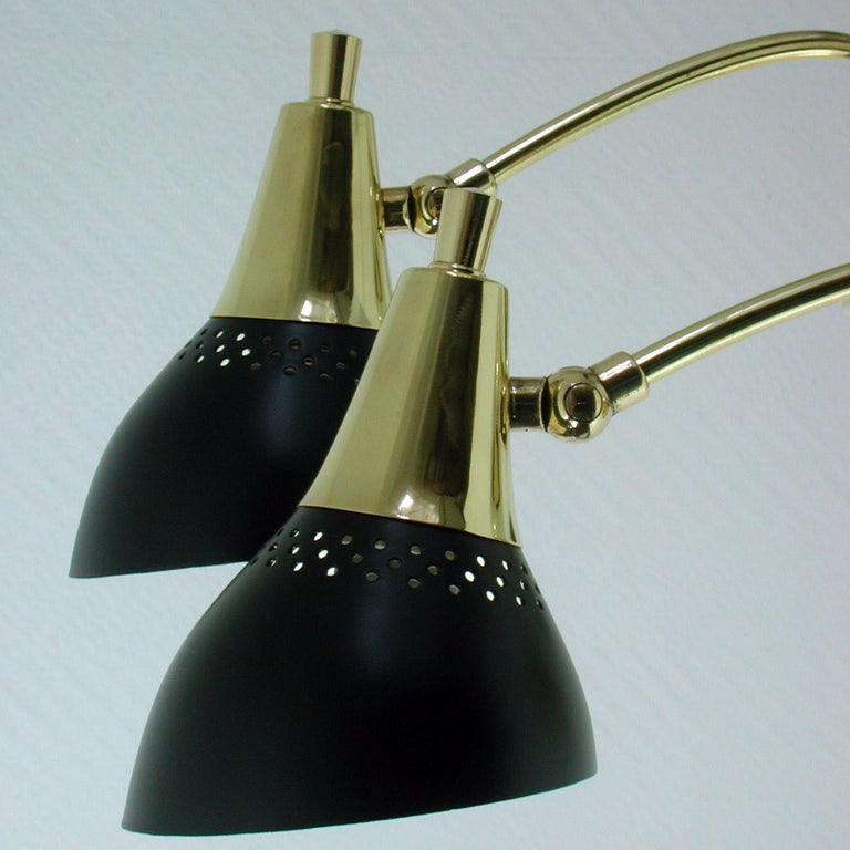 Mid-20th Century Italian Midcentury Black and Brass Sputnik Sconces Wall Lights, 1950s For Sale