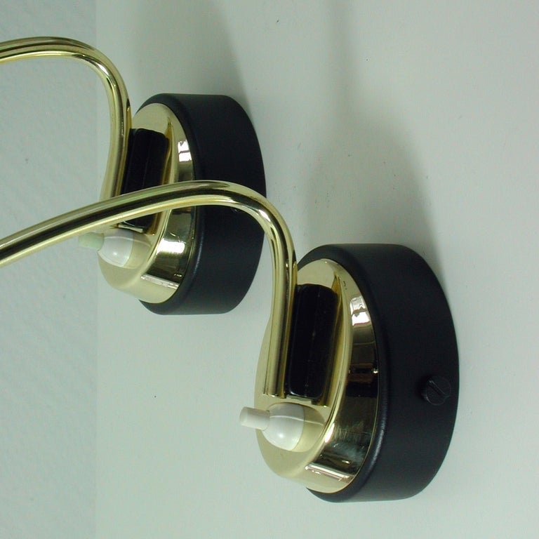 Italian Midcentury Black and Brass Sputnik Sconces Wall Lights, 1950s For Sale 1