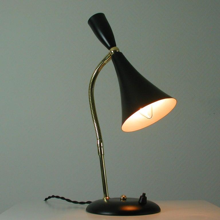 Italian Midcentury Black and Brass Sputnik Table Lamp, 1950s For Sale 4