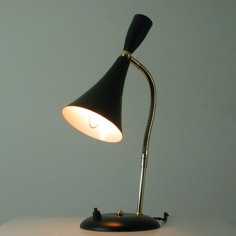 Italian Midcentury Black and Brass Sputnik Table Lamp, 1950s For Sale 5