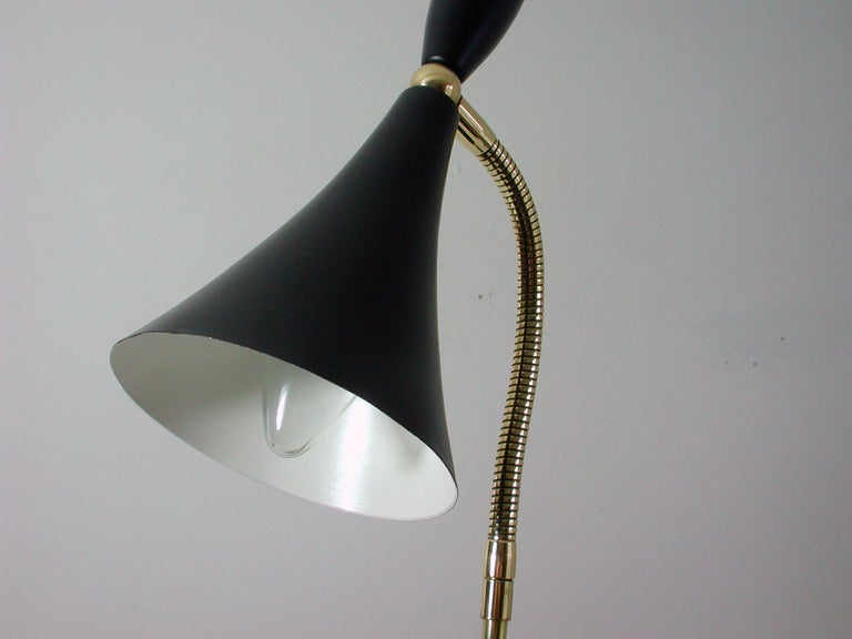 Mid-20th Century Italian Midcentury Black and Brass Sputnik Table Lamp, 1950s For Sale