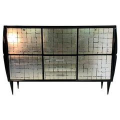 Italian Midcentury Black and Silver Leaf Cabinet , 1950s