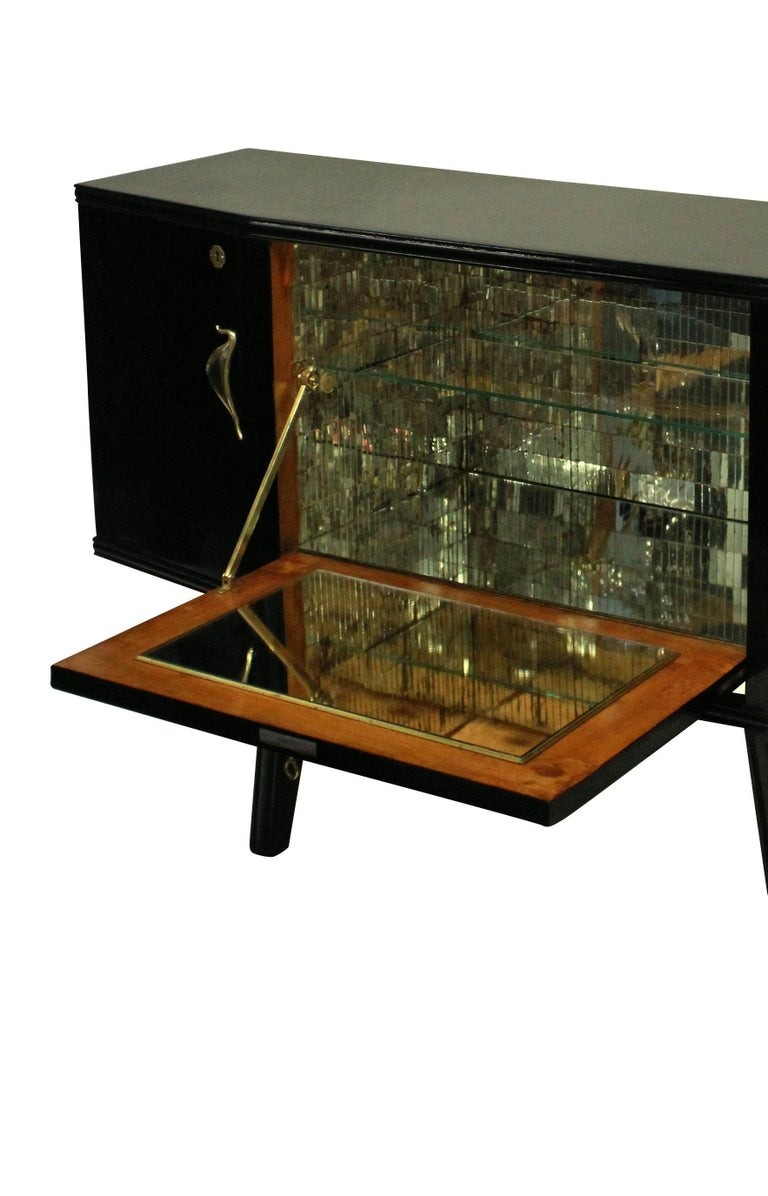 Mid-Century Modern Italian Midcentury Black Lacquered Credenza with Bar For Sale