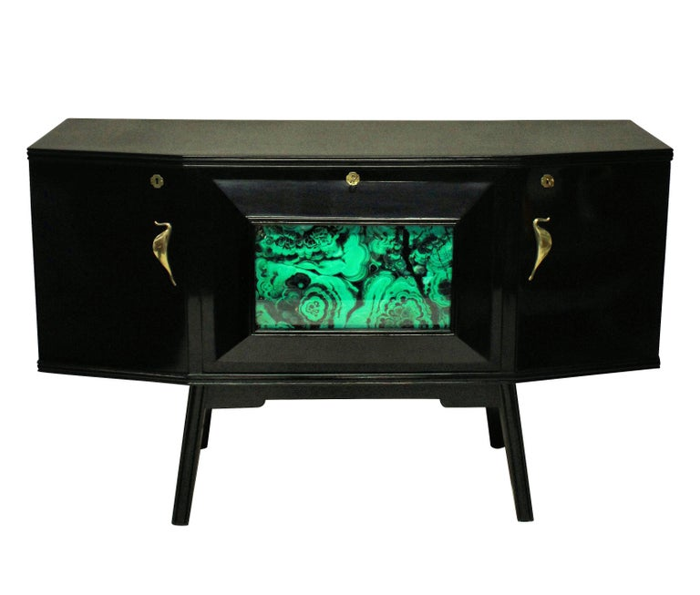 Italian Midcentury Black Lacquered Credenza with Bar In Good Condition For Sale In London, GB