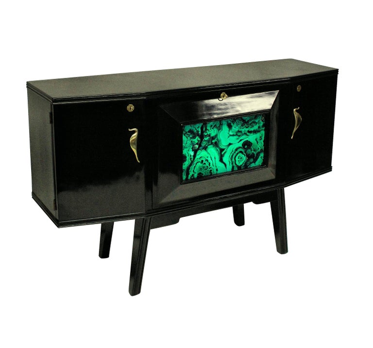 Mid-20th Century Italian Midcentury Black Lacquered Credenza with Bar