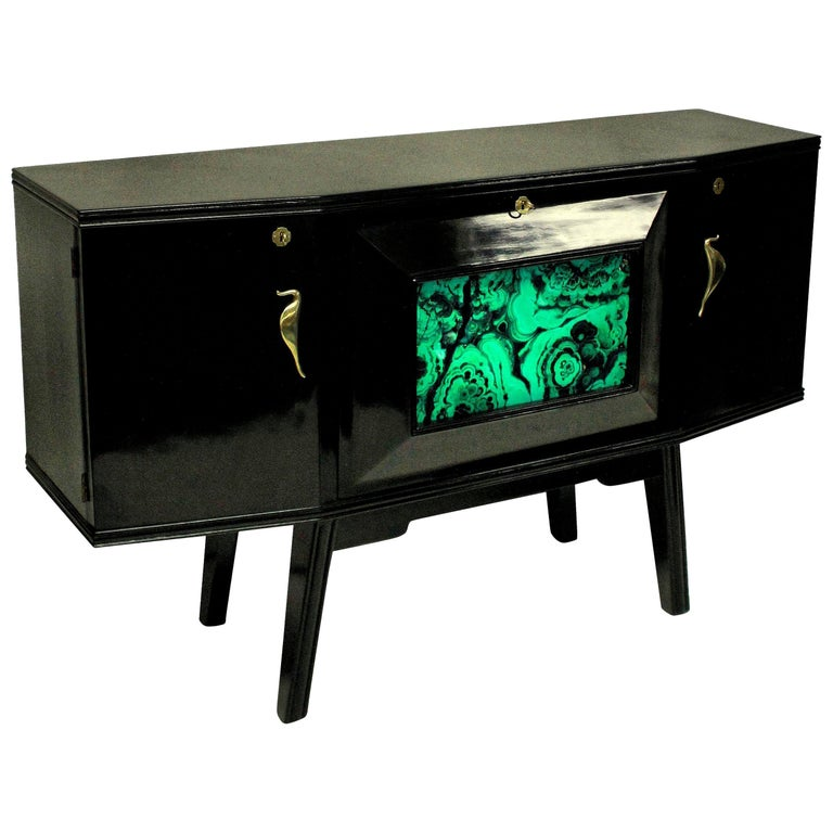 Italian Midcentury Black Lacquered Credenza with Bar For Sale