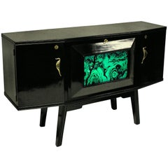 Italian Midcentury Black Lacquered Credenza with Bar