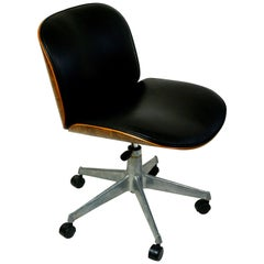 Italian Midcentury Black Leather and Oak Office Chair by Ico Parisi for Mim Roma