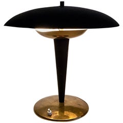 Italian Midcentury Black Metal Table Lamp with Tiltable Lampshade, 1930s