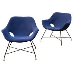 Italian Midcentury Blue Armchairs Lord by Augusto Bozzi for Saporiti, 1954
