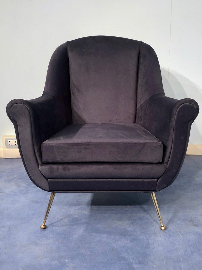 Pair of Italian Midcentury Midnight Blue Velvet Armchairs, Gio Ponti Style 1950s For Sale 6