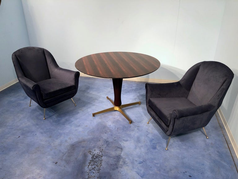 Pair of Italian Midcentury Midnight Blue Velvet Armchairs, Gio Ponti Style 1950s For Sale 13