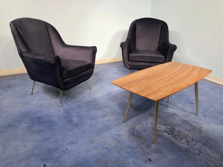 Pair of Italian Midcentury Midnight Blue Velvet Armchairs, Gio Ponti Style 1950s For Sale 14