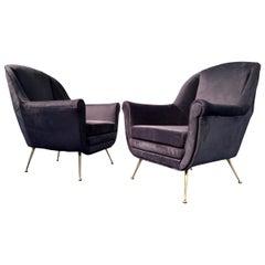 Italian Midcentury Blue Velvet Armchairs or Club Chairs, Gio Ponti Style, 1950s
