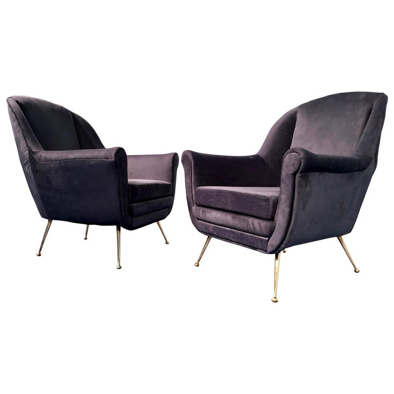 Pair of Italian Midcentury Midnight Blue Velvet Armchairs, Gio Ponti Style 1950s For Sale