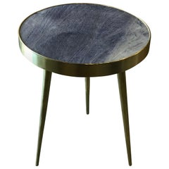 Italian Midcentury Brass and Blue Lapis Marble Side Tables