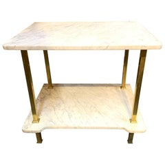 Italian Midcentury Brass and Carrara Marble Pastry Table
