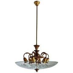Italian Midcentury Brass and Crystal Glass Chandelier, 1950s