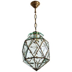 Italian Midcentury Brass and Cut Glass Lantern or Pendant Lamp, 1950s