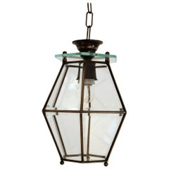 Italian Midcentury Brass and Cut Glass Lantern or Pendant Lamp, 1950s