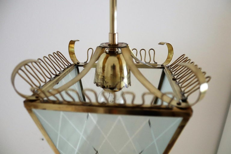 Italian Midcentury Brass and Glass Lantern or Pendant Lamp, 1950 For Sale 5