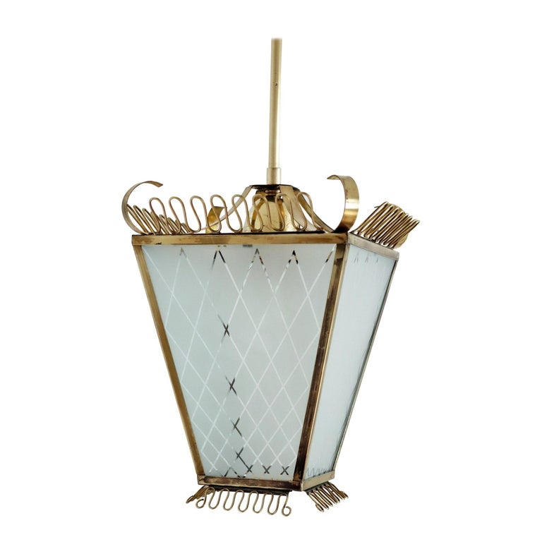 Italian Midcentury Brass and Glass Lantern or Pendant Lamp, 1950 For Sale