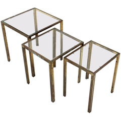 Italian Midcentury Brass and Glass Nesting Tables, 1950s