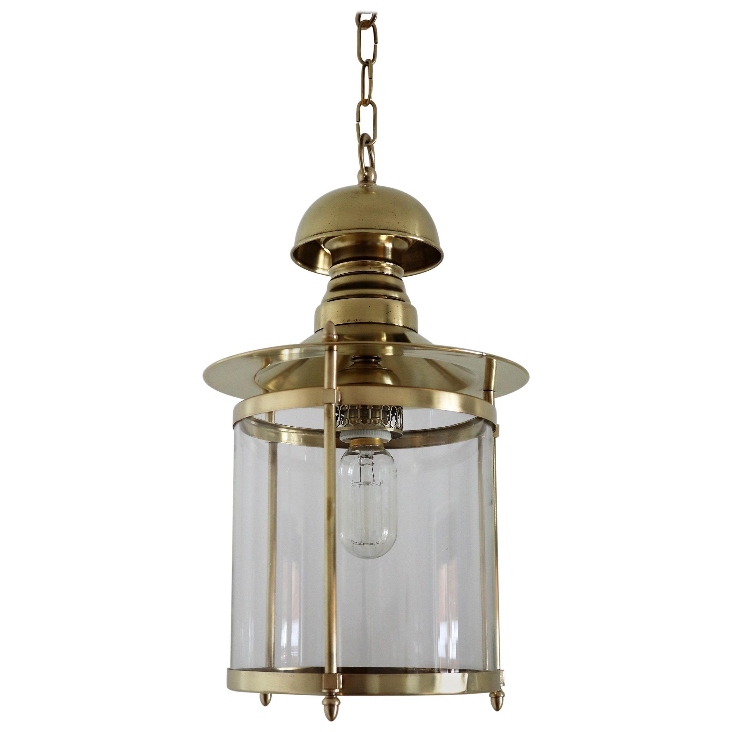 Italian Midcentury Brass and Glass Pendant Lamp or Lantern, 1970s