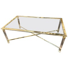 Italian Midcentury Brass and Lucite Coffee Table