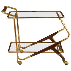 Italian Midcentury Brass and Mahogany Drinks Trolley