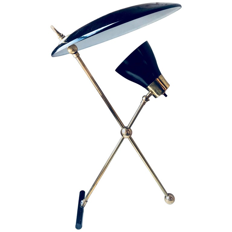 Italian Midcentury Brass and Metal Double Shade Table Lamp, 1950s For Sale