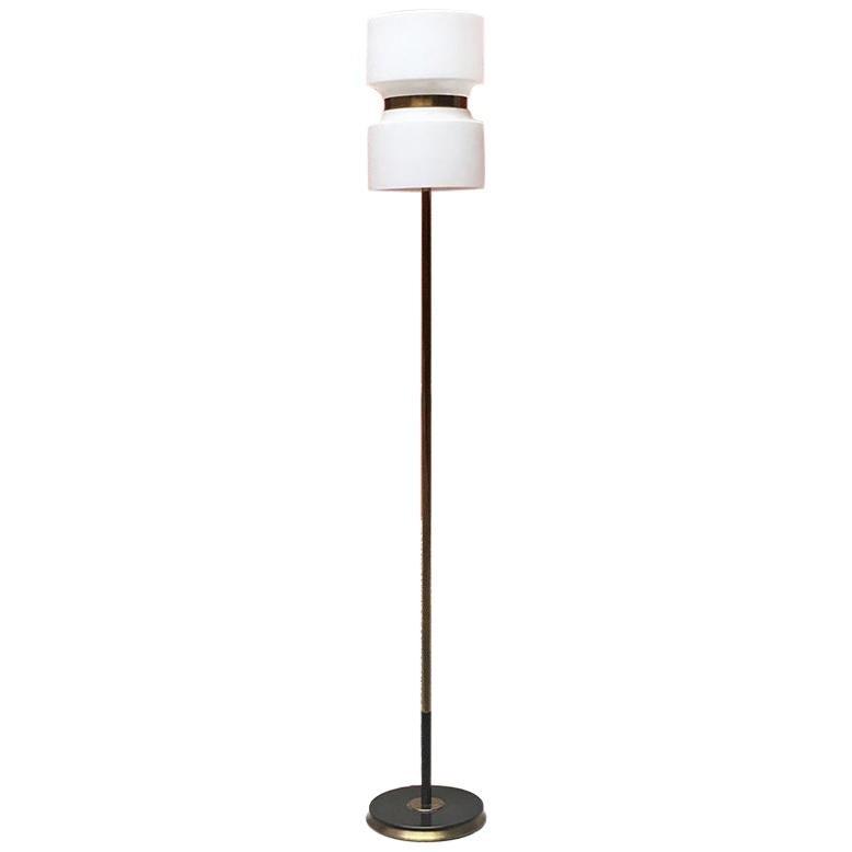 Italian Midcentury Brass and Opaline Glass Floor Lamp, 1950s