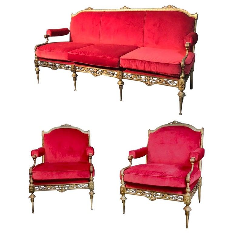 Italian Midcentury Brass and Red Velvet Living Room Set, 1950 For Sale