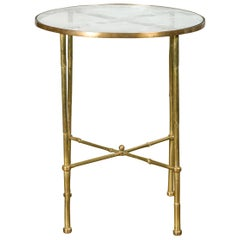 Italian Midcentury Brass Bamboo-Inspired Side Table with Distressed Glass Top