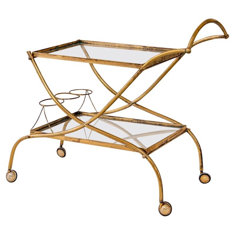 Italian Midcentury Brass Bar Cart