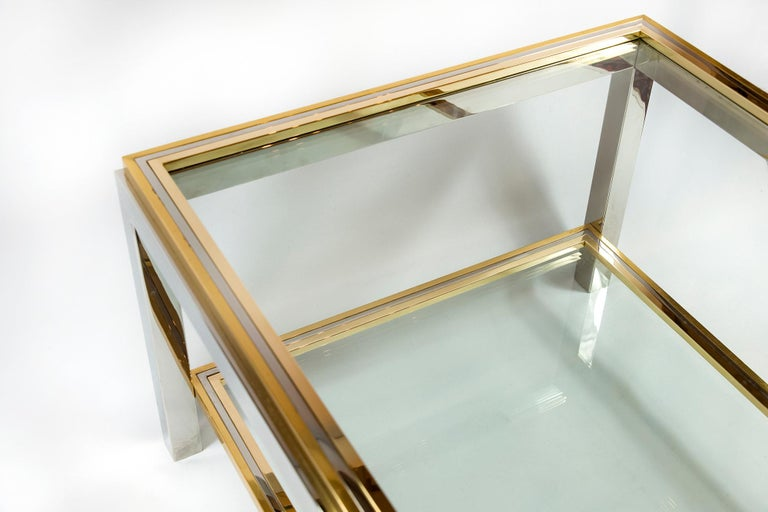 Italian Midcentury Brass, Chrome and Glass Coffee Table, Willy Rizzo, circa 1960 For Sale 1