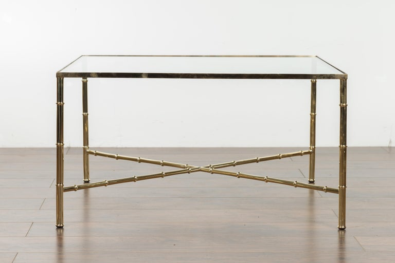 Italian Midcentury Brass Coffee Table with Glass Top and X-Form Cross Stretcher For Sale 5