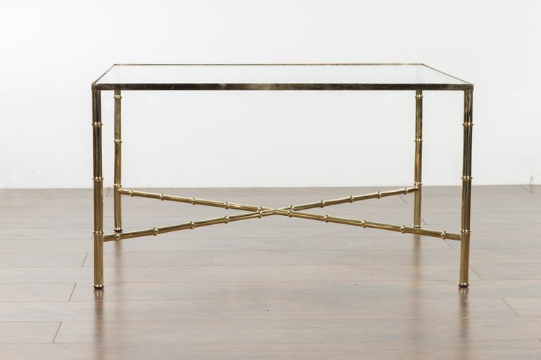 Italian Midcentury Brass Coffee Table with Glass Top and X-Form Cross Stretcher For Sale 6