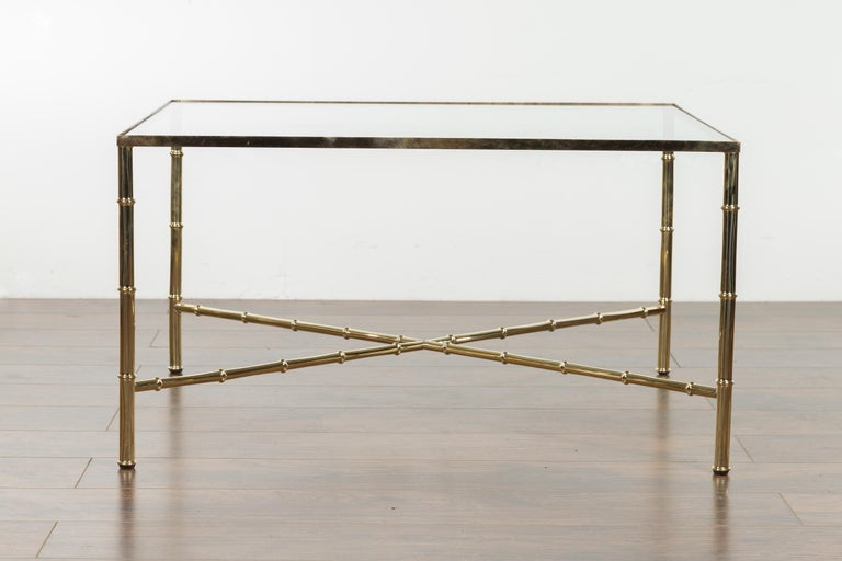Italian Midcentury Brass Coffee Table with Glass Top and X-Form Cross Stretcher For Sale 7