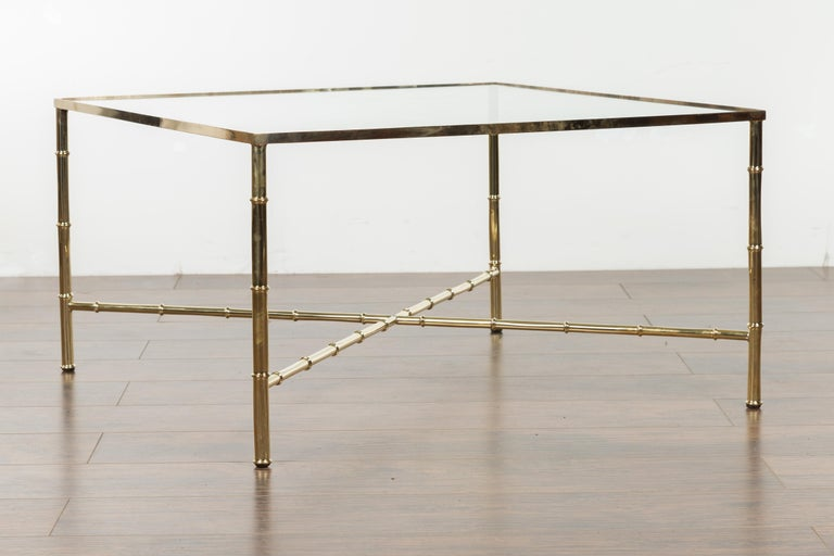 Italian Midcentury Brass Coffee Table with Glass Top and X-Form Cross Stretcher For Sale 3