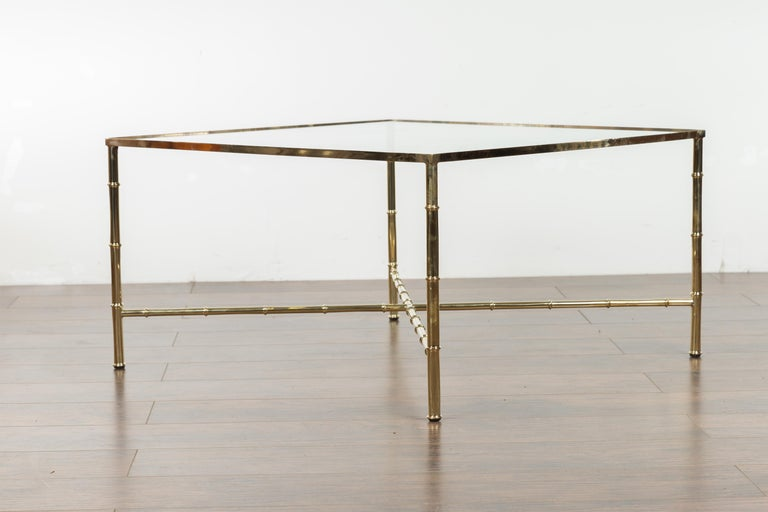Italian Midcentury Brass Coffee Table with Glass Top and X-Form Cross Stretcher For Sale 4