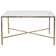 Italian Midcentury Brass Coffee Table with Glass Top and X-Form Cross Stretcher
